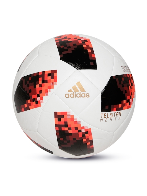 ADIDAS Men White & Black World Cup Knockout Top Glider Printed Football