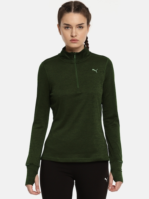 Puma Olive Green Run 1/2 Zip Top W Sweatshirt