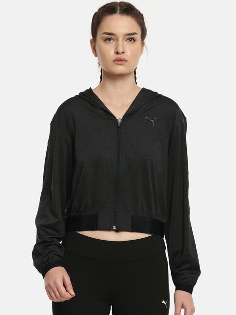 Puma Black SOFT SPORT Drapey FZ Hoody Jacket