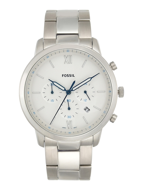 Fossil Men White & Silver-Toned Leather Analogue Watch FS5433