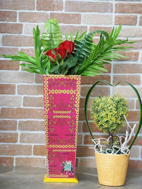 RANGRAGE Pink & Yellow Decorative Vase