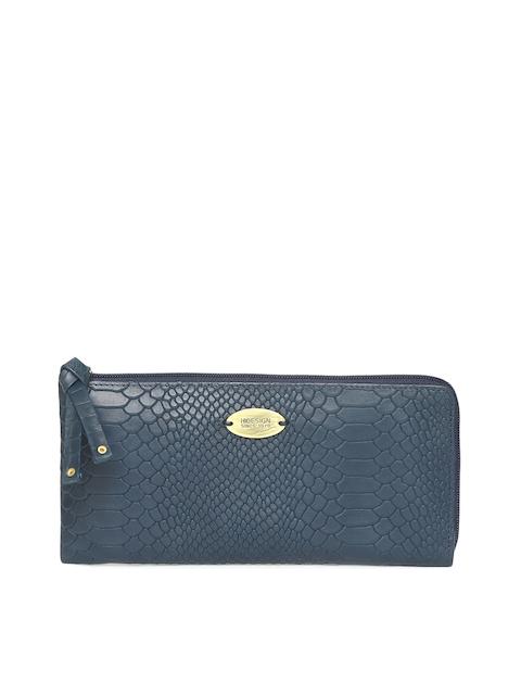 Hidesign Navy Blue Textured Zip Around Wallet