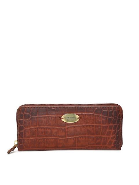Hidesign Tan Brown Textured Zip Around Wallet