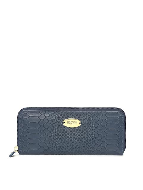 Hidesign Blue Textured Zip Around Wallet