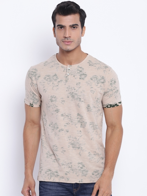 Blackberrys Men Beige Printed Henley Neck T-shirt