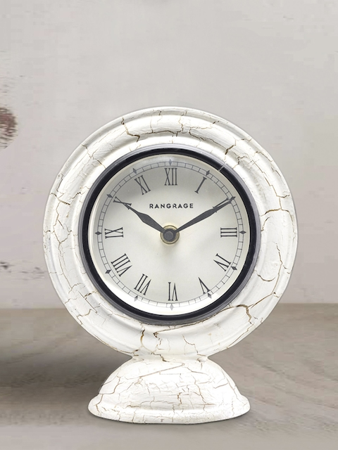 RANGRAGE White Handcrafted Round Solid Analogue Table Clock