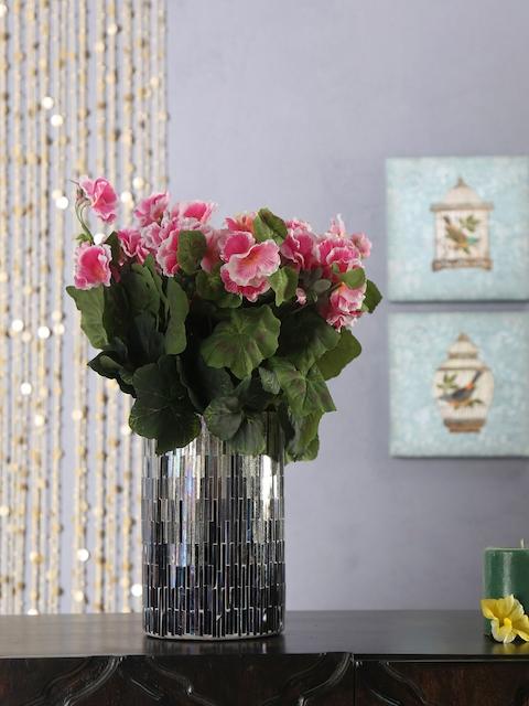 Athome by Nilkamal White & Grey Embellished Glass Vase