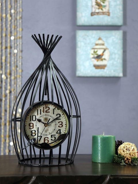 Athome by Nilkamal Beige Bird Shaped Printed Analogue Table Clock