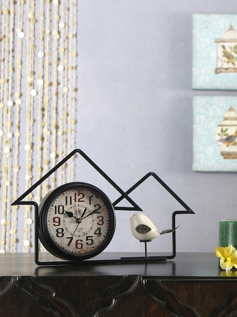Athome by Nilkamal Cream-Coloured Abstract Shaped Printed Analogue Table Clock