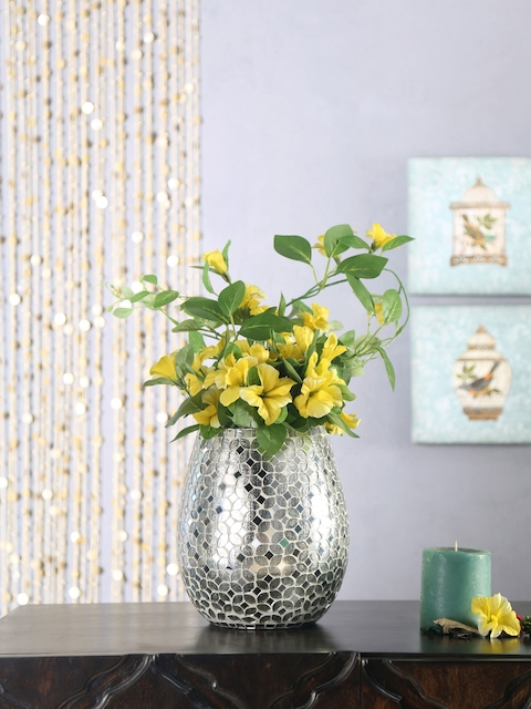 Athome by Nilkamal Silver-Toned Patterned Metal Vase