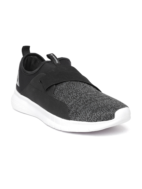Reebok Men Black & Grey Piston Slip On Patterned Walking Shoes