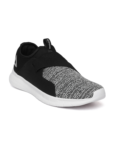 Reebok Men Black & White Astroride Piston Slip-On Woven Design Walking Shoes
