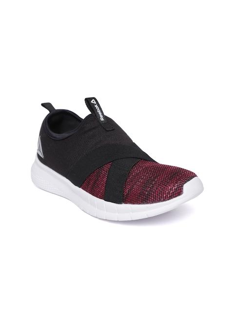 Reebok Women Pink & Black Tread Leap Walking Slip-Ons