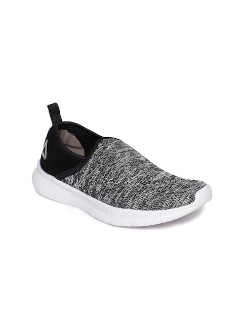 Reebok Women Black & White Harmony Slip-On Woven Design Walking Shoes