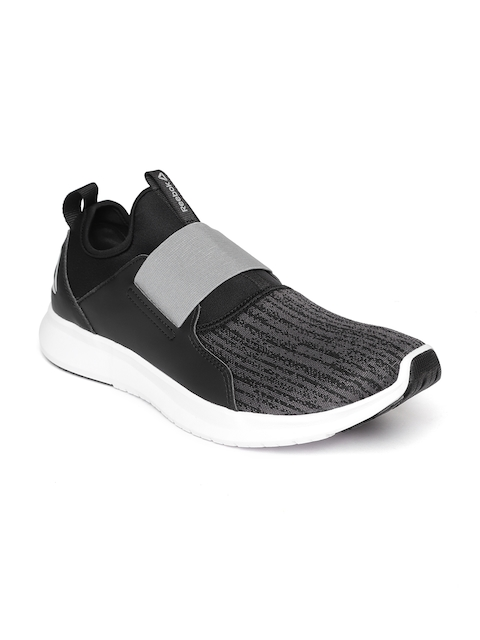 Reebok Men Black & Charcoal Grey Slip On LP Woven Design Walking Shoes