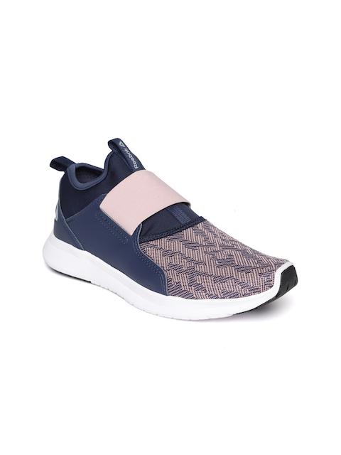 Reebok Women Navy Blue & Peach-Coloured Slip On LP Woven Design Walking Shoes