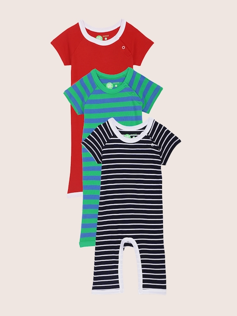 YK Organic Infant Boys Pack of 3 Rompers