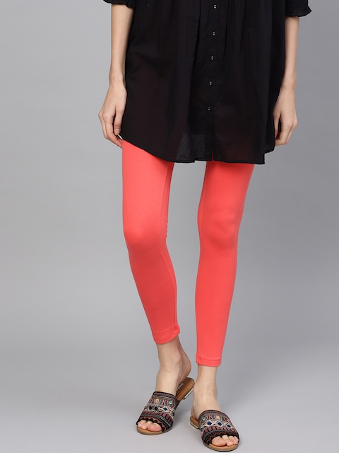 W Women Coral Orange Solid Ankle-Length Leggings