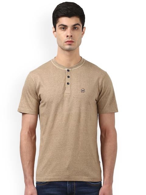 Park Avenue Men Beige Solid Henley Neck T-shirt