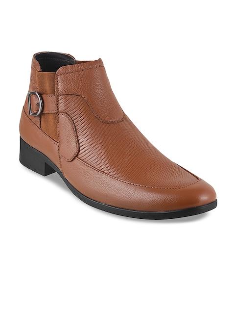 Metro Men Tan Brown Leather Semiformal Boots