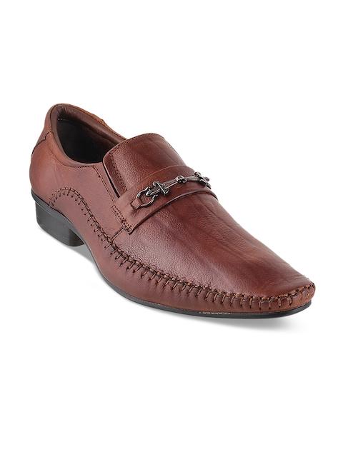 Metro Men Tan Solid Semiformal Leather Slip-On Shoes