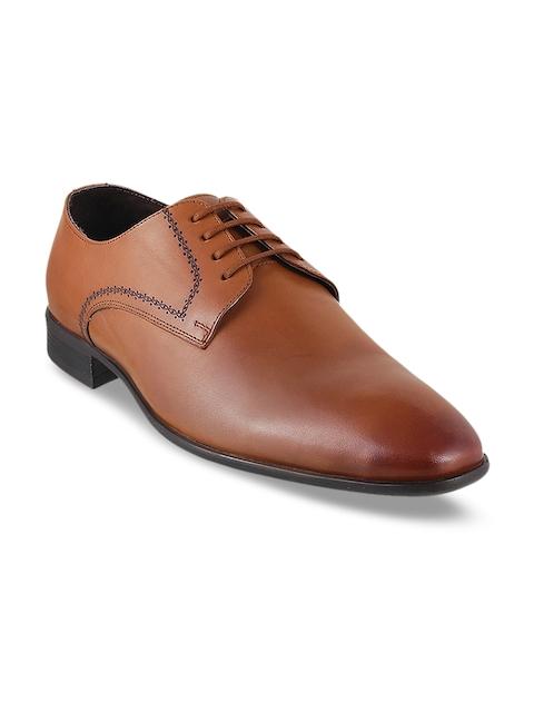 Metro Men Tan Formal Leather Derbys Shoes