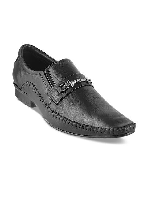Metro Men Black Solid Semiformal Leather Slip-On Shoes