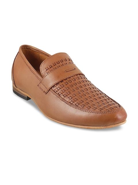 Metro Men Tan Woven Design Leather Semiformal Slip-On Shoes