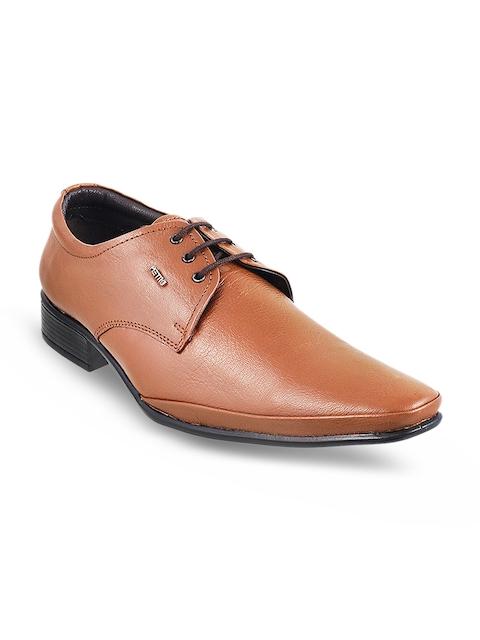 Metro Men Brown Solid Formal Leather Derbys