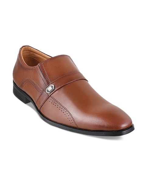Metro Men Tan Semiformal Leather Slip-On Shoes