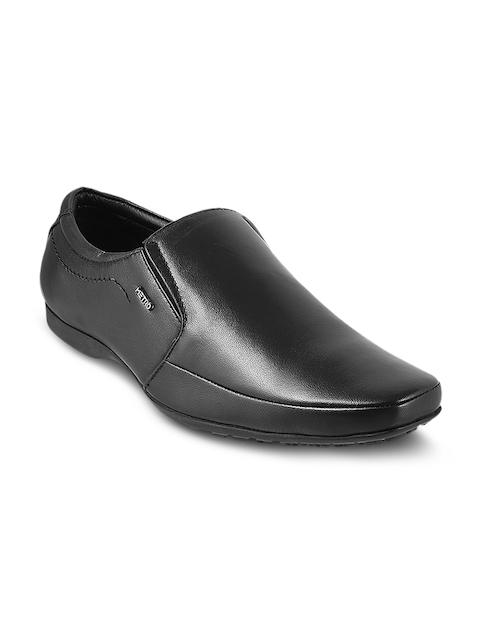 Metro Men Black Leather Semiformal Slip-On Shoes