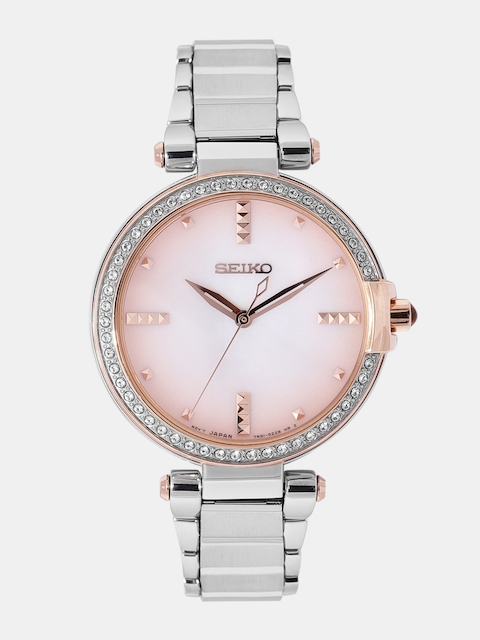 SEIKO Women Off-White & Peach-Coloured Analogue Watch SRZ514P1