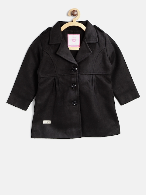 612 league Girls Black Single-Breasted Pea Coat