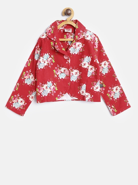 612 league Girls Red & Off-White Printed Single-Breasted Blazer