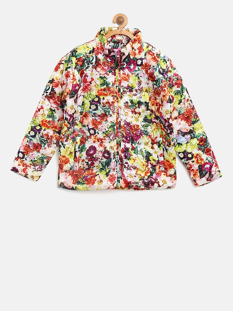 612 league Girls Off-White & Orange Floral Print Padded Jacket