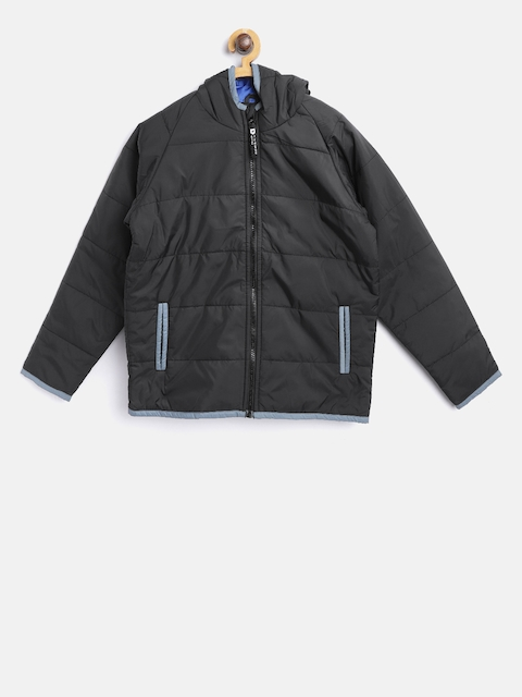 612 league Boys Black Solid Padded Jacket