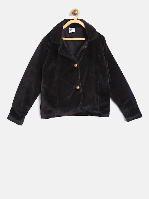 612 league Girls Black Solid Single-Breasted Corduroy Blazer