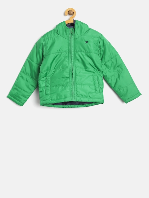 612 league Boys Green Solid Padded Jacket