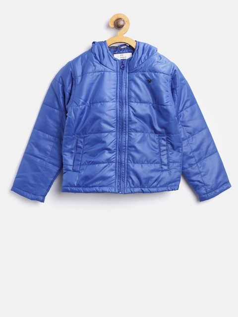 612 league Boys Blue Solid Hooded Padded Jacket