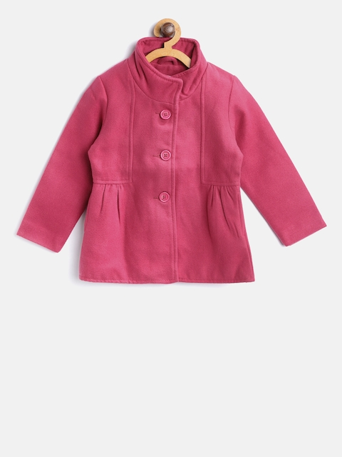 612 league Girls Pink Solid Pea Coat