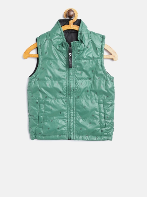 612 league Boys Green & Black Printed Reversible Tailored Jacket