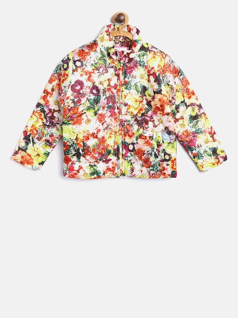 612 league Girls Multicoloured Floral Print Padded Jacket