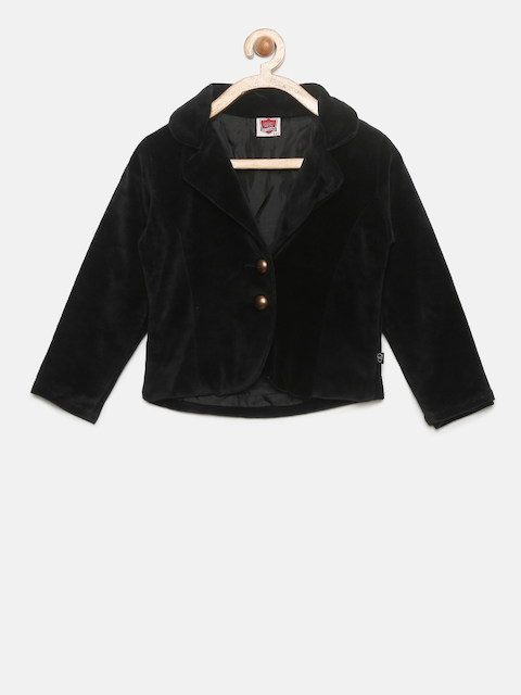 612 league Girls Black Solid Tailored Jacket
