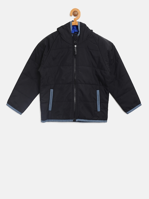 612 league Boys Black Solid Hooded Tailored Jacket