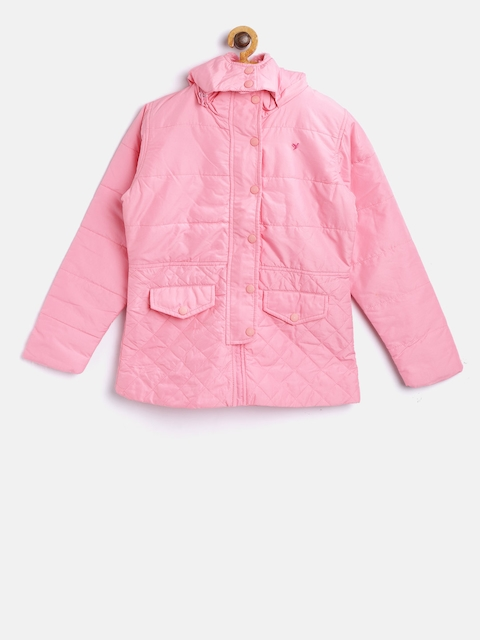 612 league Girls Pink Solid Padded Jacket