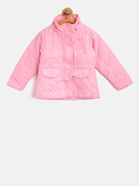 612 league Girls Pink Solid Padded Jacket with Detachable Hood