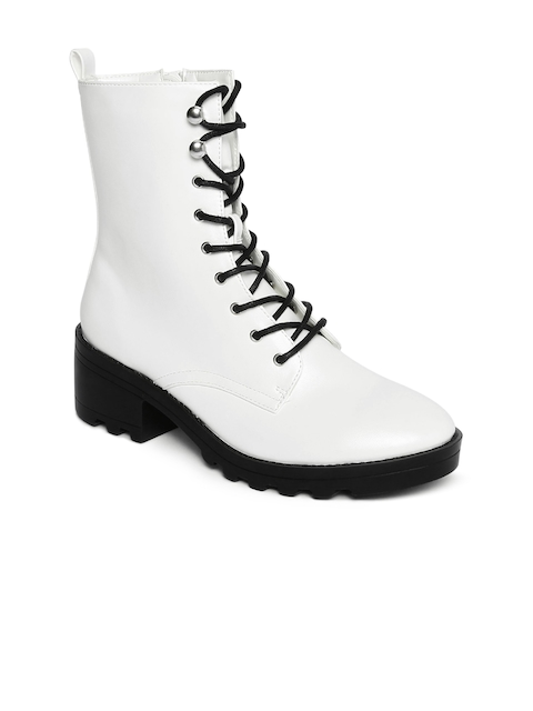 FOREVER 21 White Solid Heeled Boots
