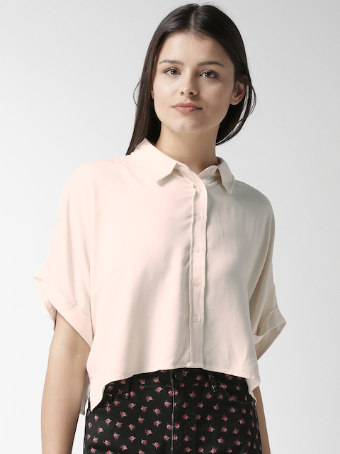 FOREVER 21 Women Beige Boxy Solid Crop Casual Shirt