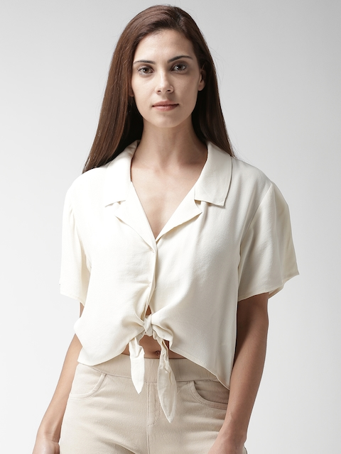 FOREVER 21 Women Beige Boxy Solid Casual Shirt