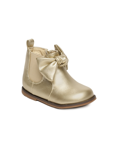 Fame Forever by Lifestyle Girls Gold-Toned Solid Mid-Top Flat Boots